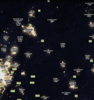 地球夜间灯光图,比较江油、三台、梓潼城区大小