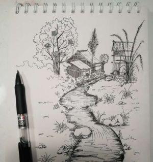 白描速写风景画