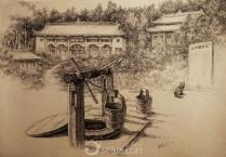 山雪钢笔画——江油美景.哪吒文化